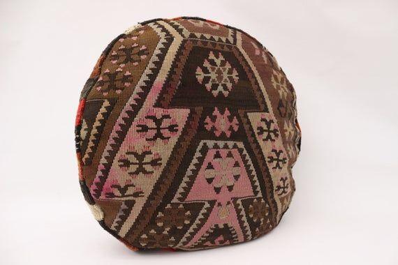 Aztec Kilim Pouf,Camping Puff,24x24x6 Pear Seat,Pink Pouf,Circle Pouf,Floor Pillow Cover,Garden Pouf