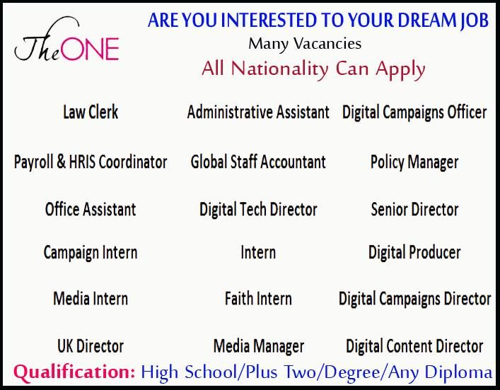 JOBS AT THE ONE ! Various Sector Jobs Available Click Here To Apply