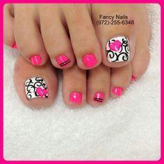 50 pretty toe nail art ideas toe nail designs ring finger and 50 pretty toe nail art ideas white damaskpink whitehot pinkblack prinsesfo Gallery