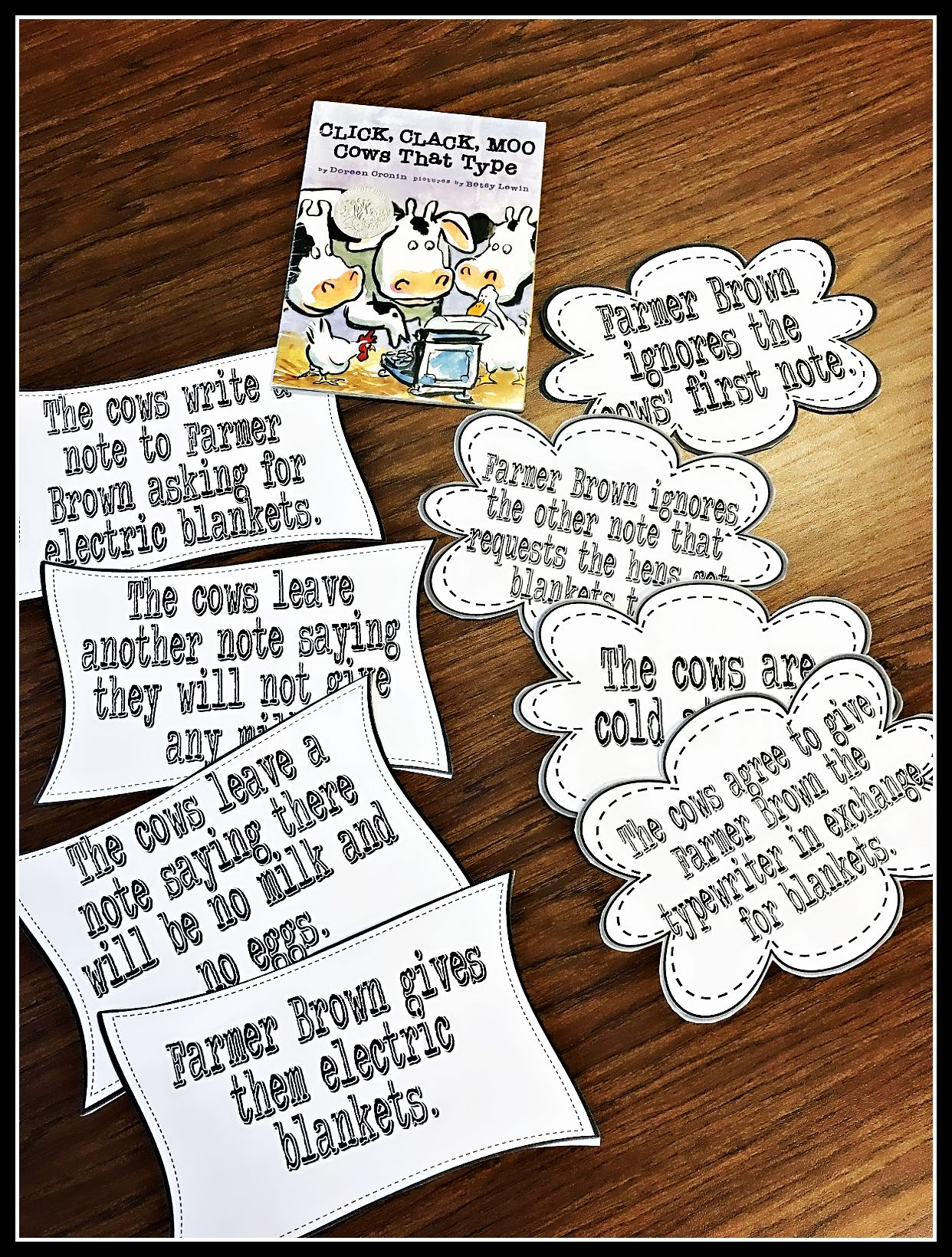 "ELA Cause and Effect 3rd Grade: Cause and effect cards that go with the book ""Click, Clack, Moo Cows That Type."" Read the book as a class and have the students match the cards up in order of causes and effects."