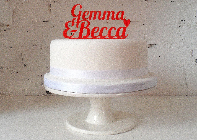 Personalised name wedding cake custom made cake topper via