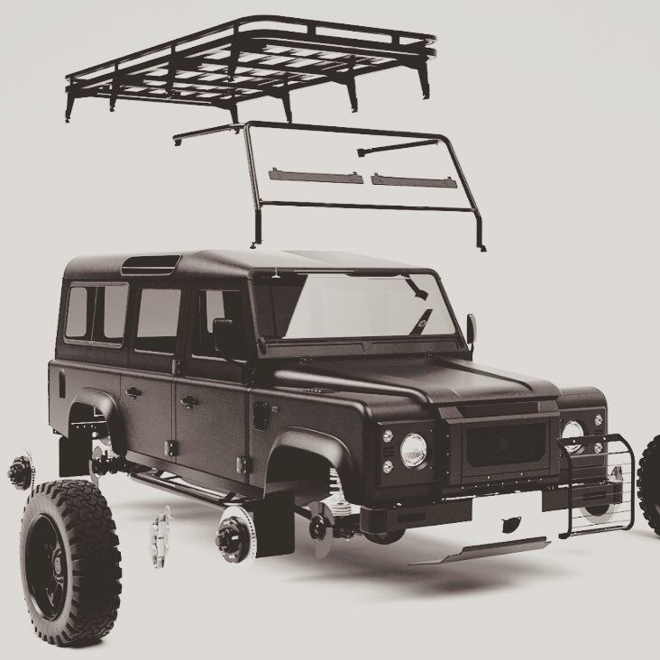 Defender deconstructed... #TwistedDefender #Detail #LandRover #Deconstructed #Automotive #Detailing #Handcrafted #Skill #Customised #Parts #Defender #BackToBasics #RoofRack #Tyres #Body