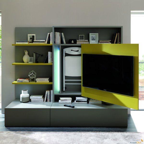Soluzioni salvaspazio per il soggiorno - parete attrezzata ...