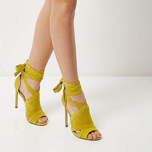 Chaussures Sandales Bottines Lacets À Daim En Talons Jaunes w0ASB