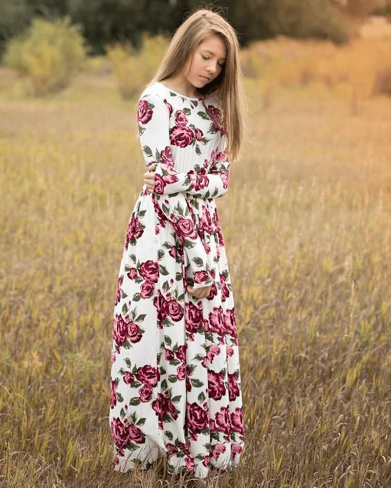 Long Sleeve Maxi Dress White Fuchsia Rose Spring Easter Dress For Girls Tweens Maxi Dress Maxi Dress With Sleeves Long Sleeve Maxi Dress [ 1000 x 800 Pixel ]