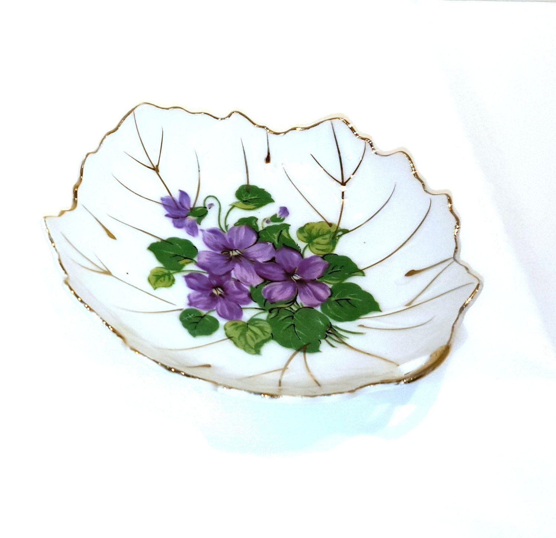 Hand Painted Viceroy Violet Porcelain Leaf Trinket Dish Presented By  Donellensvintage