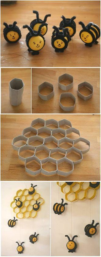How to DIY Lovely Beehive and Bees Decoration from Toilet Paper Rolls #insects