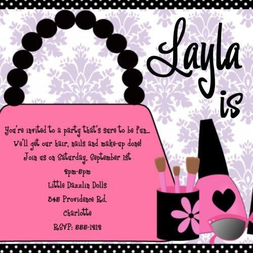 diva glamour girl birthday party invitation diva spa birthday invit - Girl Birthday Party Invitations