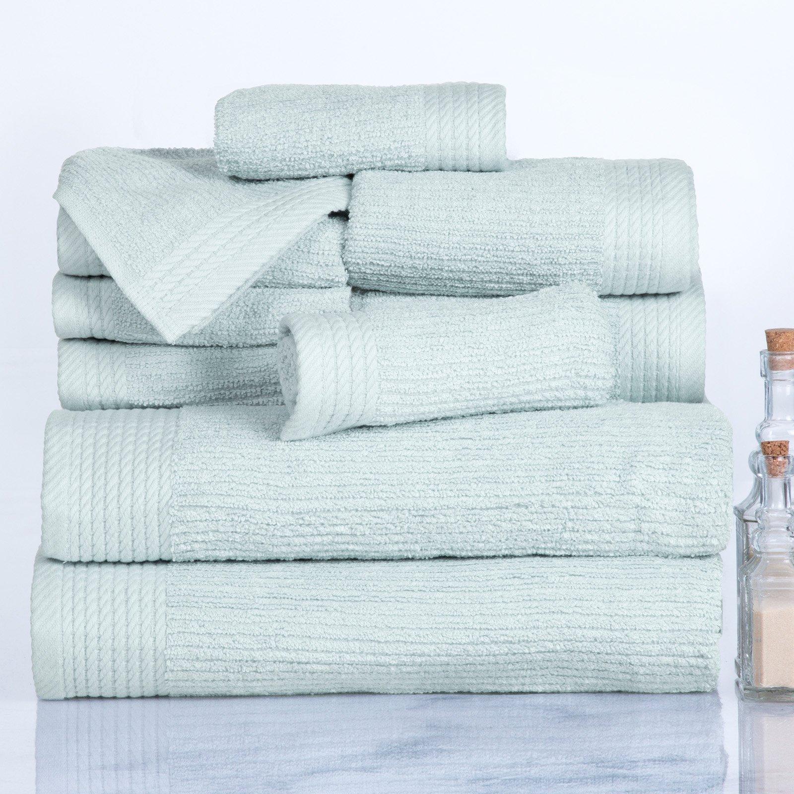 Lavish Home Ribbed Egyptian Cotton 10 Piece Towel Set Seafoam Cotton Bath Towels Towel Set Egyptian Cotton Towels
