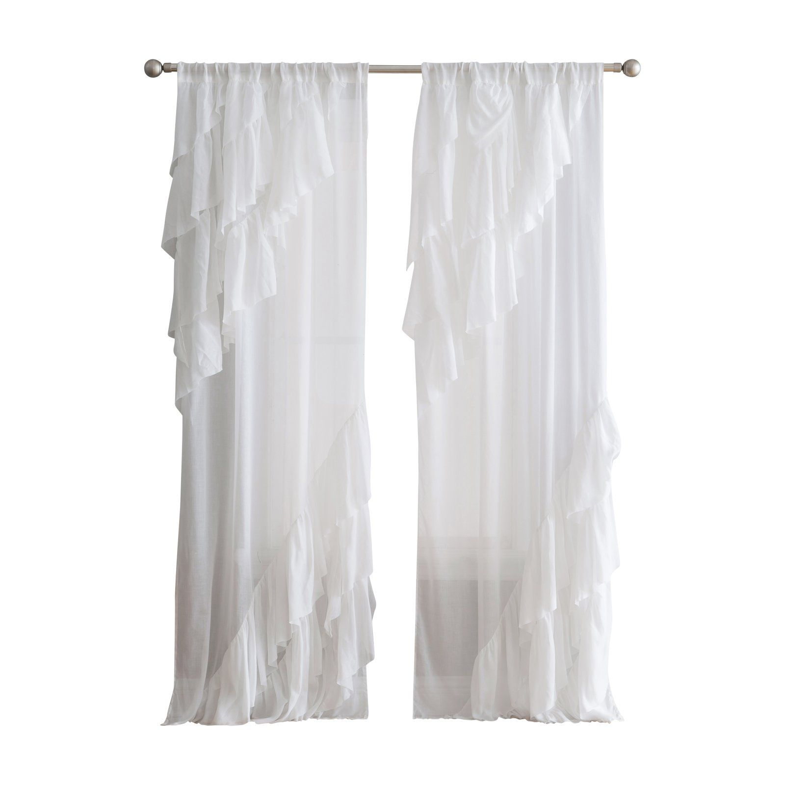 Ruffle Curtain Panel Peach And Oak Astrea Ruffle Curtain Panel In 2019 Products