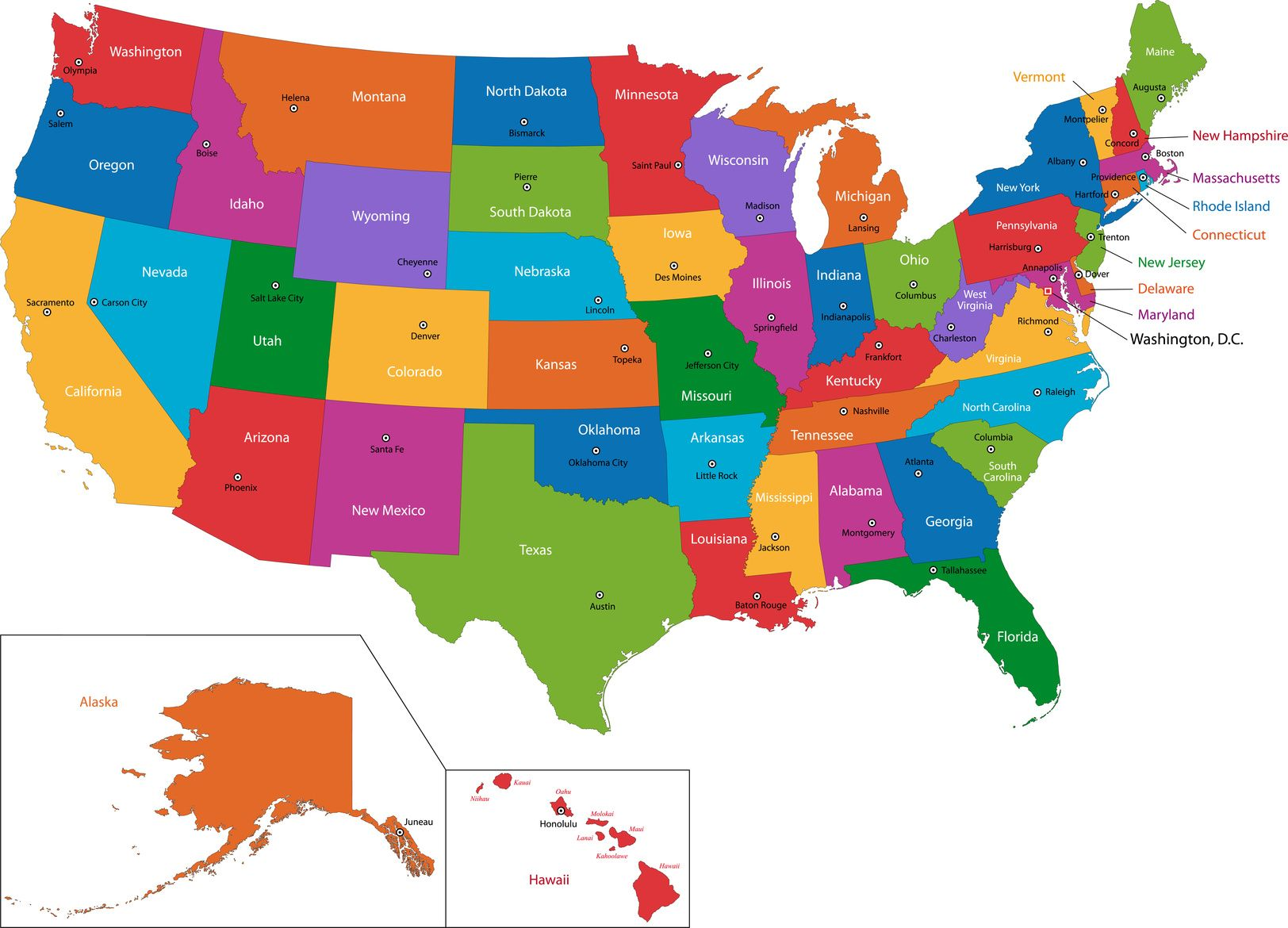 Which State Is Which Geography States And Capitals And Cycle - Us map states and capitals
