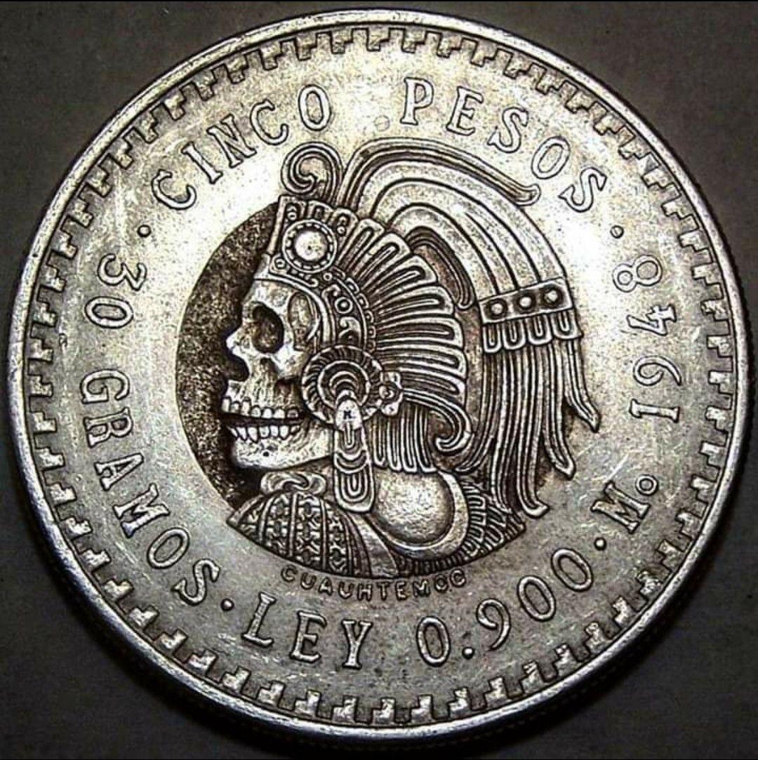 Moneda Mexicana De Plata Cinco Pesos 1948 Monedas De Plata Arte Con Monedas Culturas Prehispanicas De Mexico