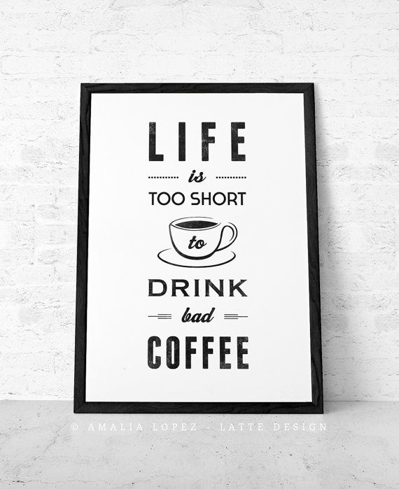 Black And White Coffee Print With A Retro Touch Would Make