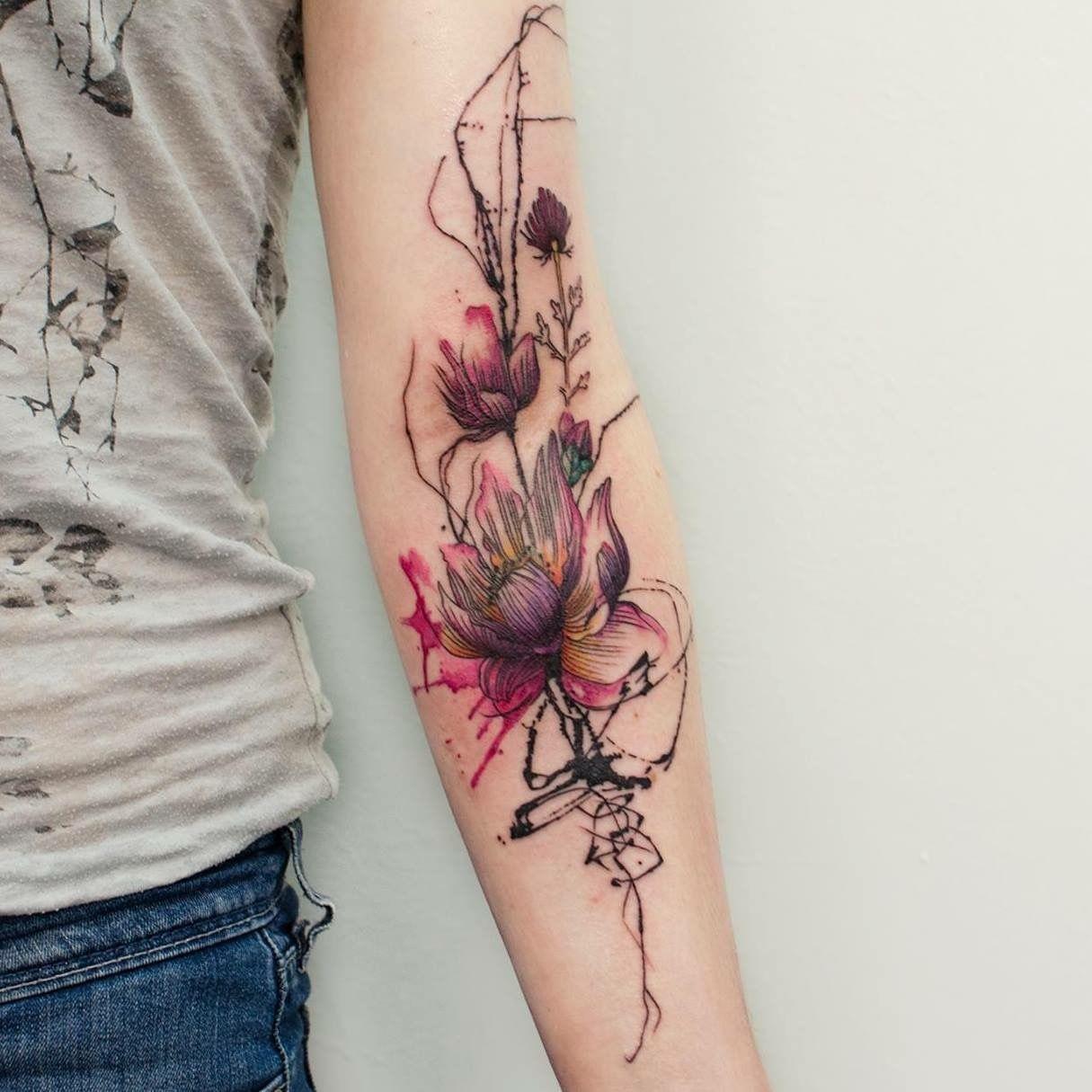 watercolor tattoo flower - 736×736