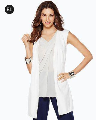 e5fc82306f Chico s New Black Label White Linen Long Sleeveless Jacket Vest Women s