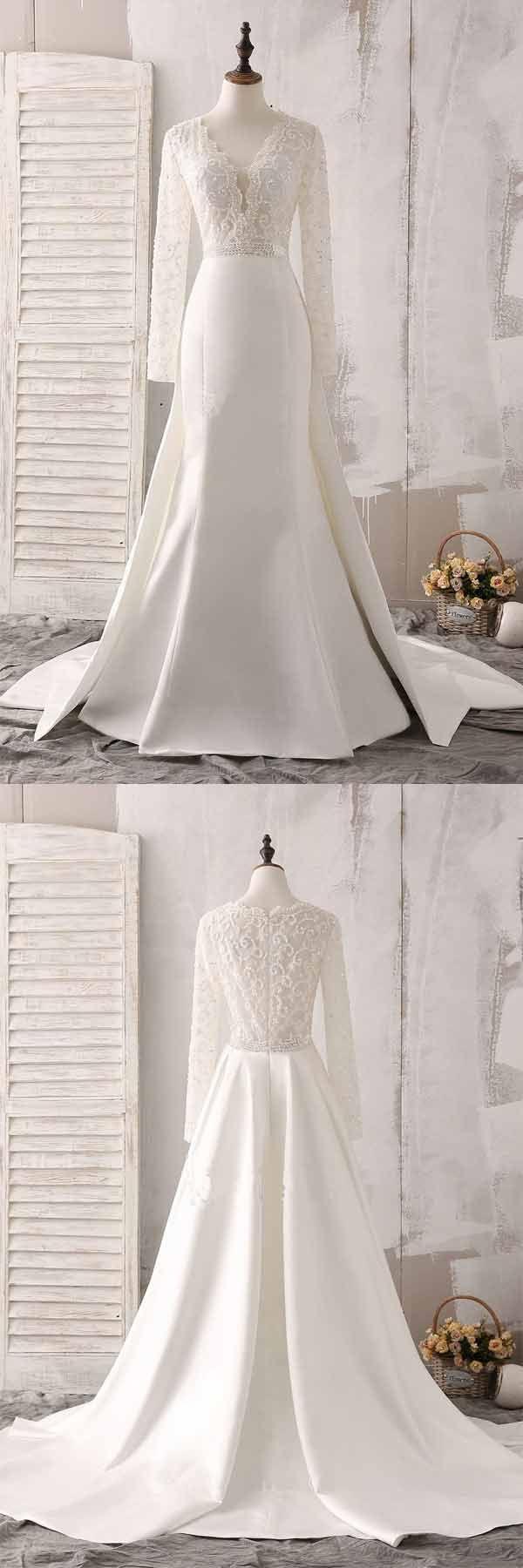 Ivory lace and satin vneck long sleeve beaded wedding dress wd