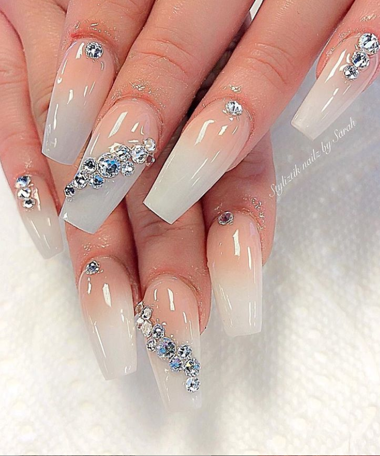 60 Bling Acrylic Coffin Nails Design With Rhinestones Nails Design With Rhinestones Coffin Nails Designs Rhinestone Nails