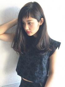 アルバム シブヤ(ALBUM SHIBUYA)モーブカラーワイドバングワンカールロング_71062