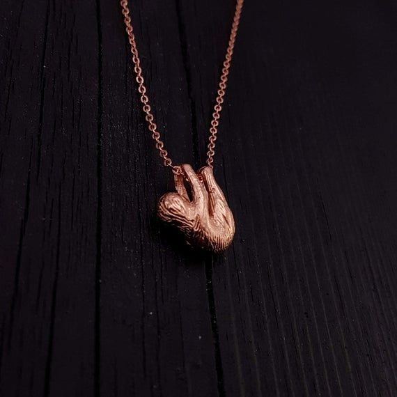 Baby Sloth Pendant Necklace - Rose Gold Plated Bronze - Three Dimensional Highly Detailed Little Hanging Sloth - Multiple Chain Lengths #babysloth