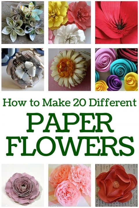 How to make 20 different paper flowers paper flower tutorial make your own bouquet of beautiful paper flowers this collection of paper flower tutorials will show you the many different types of flowers you can make mightylinksfo