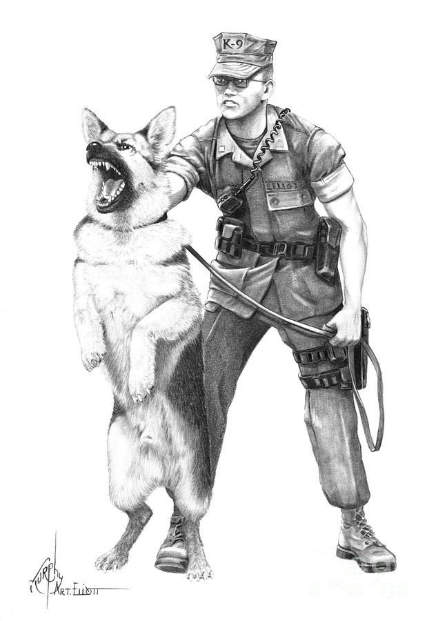 картинка раскраска кинолог в армии одного