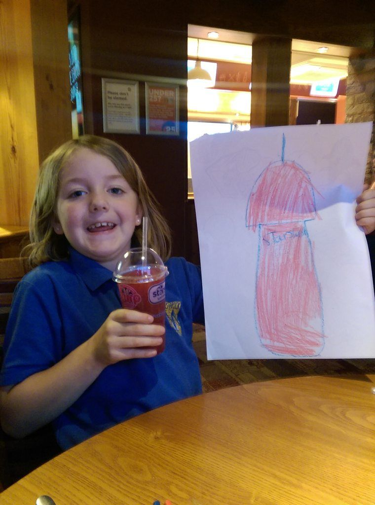 My daughter decided to draw a picture of her drink. She doesnt understand why were laughing so hard