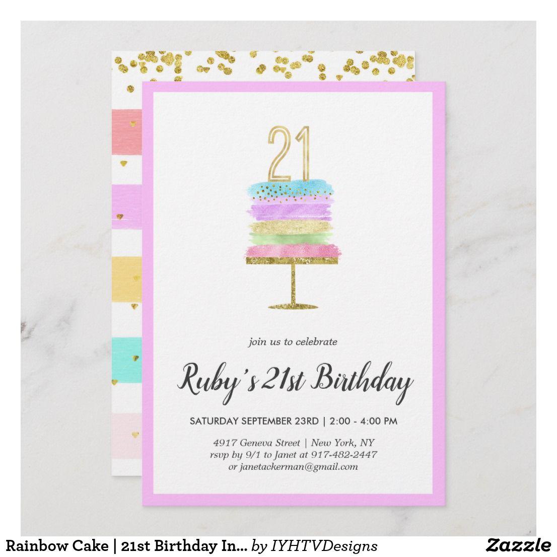 Rainbow Cake 21st Birthday Invitation