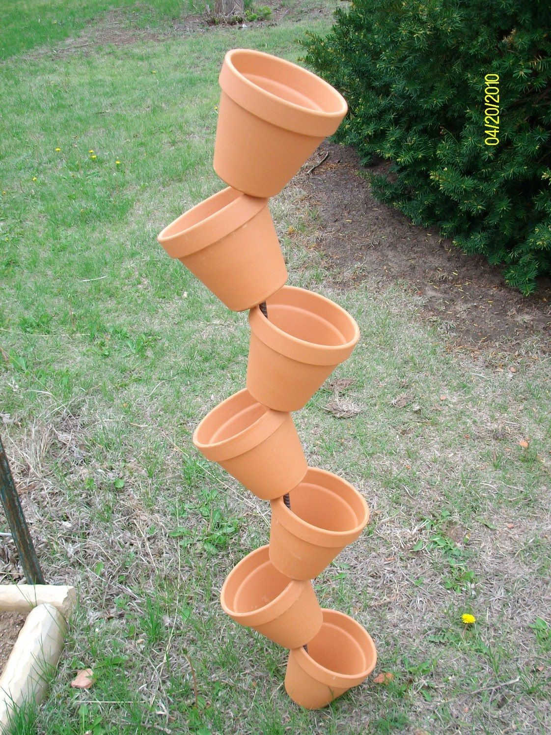 Leaning Plant Pot Tower Plant Pot Diy Fun Garden Projects Potted Plants