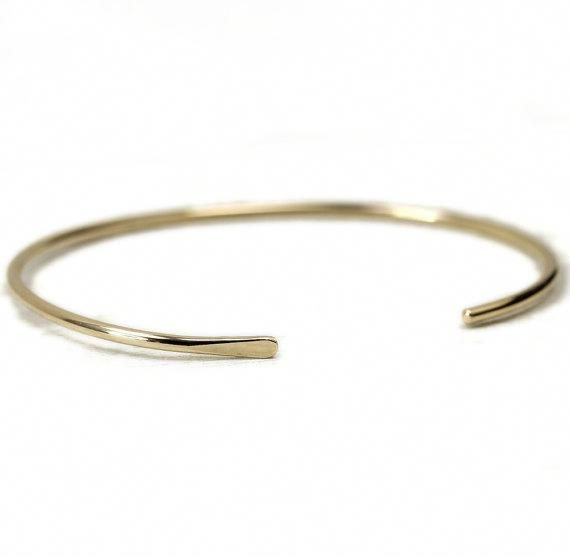 50fcc7b5a Smooth Gold Cuff Bracelet, Simple Gold Bangle, Custom Sized Gold Fill Cuff  #gold14k