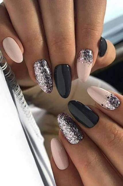 Super nails acrylic glitter ombre art designs ideas