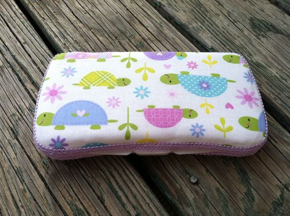 Turtle Fabric Covered Travel Baby Wipe Case by CrystalCreations108, $8.00