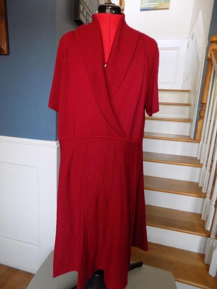 Deep Red Sweater Dress Jones New York Plus Size 3x Crossover Bust