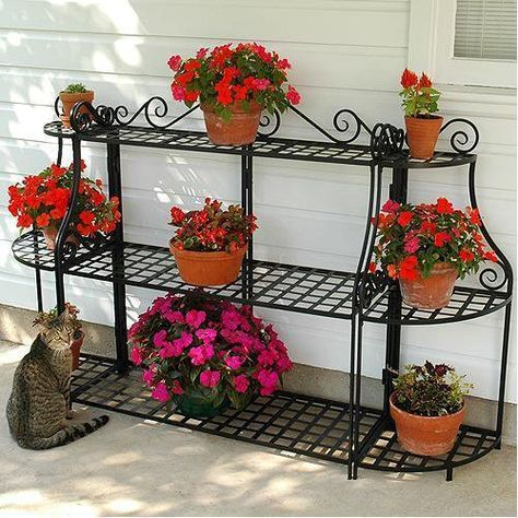 Black Forged Steel Plant Stand House Plants Decor Garden Plant