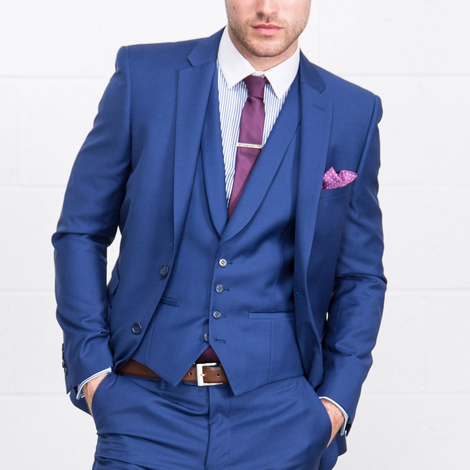 ONESIX5IVE Three Piece Slim Fit Blue Suit - Three Piece Suits ...