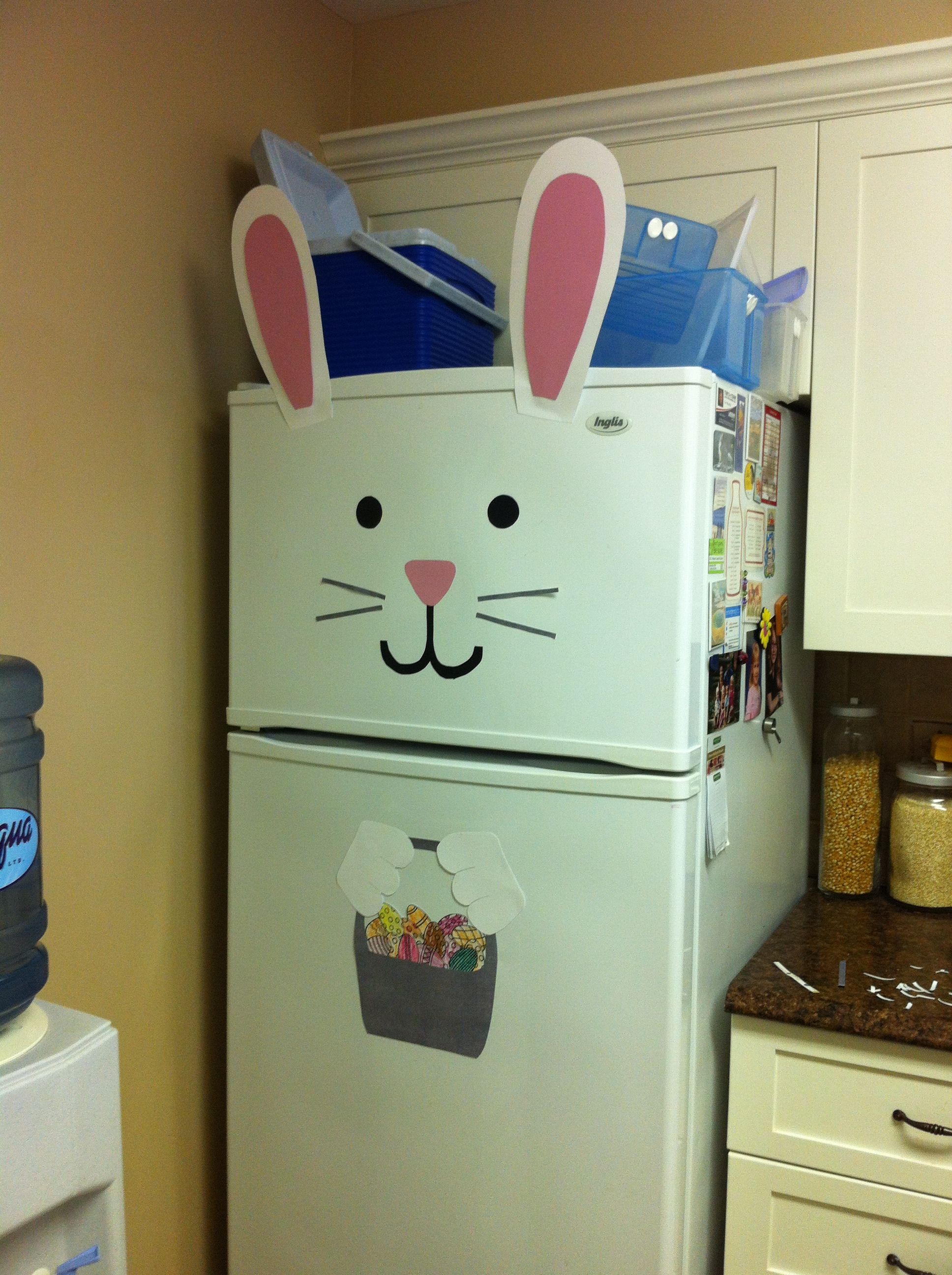 Easter bunny fridge just did this for my fridge in my apartment it looks so cute d