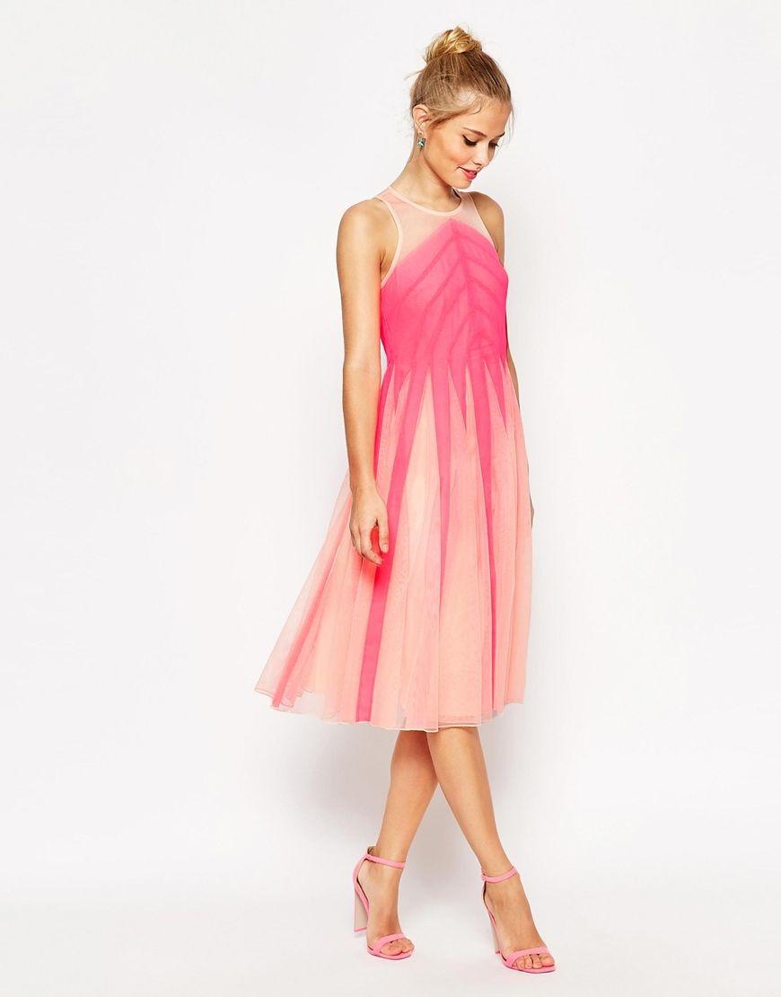 Image 4 of ASOS Fluro Color Block Mesh Fit and Flare Midi Dress ...