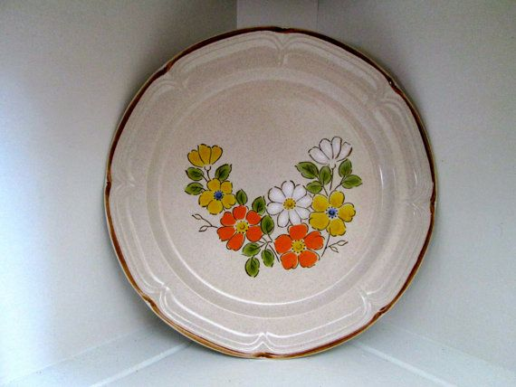Vintage 1970s Spring Garden Baroque Hearthside Stoneware Floral ...