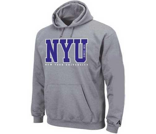 york university hoodie. hooded sweatshirt with purple nyu new york university lettering across front and on hoodie y