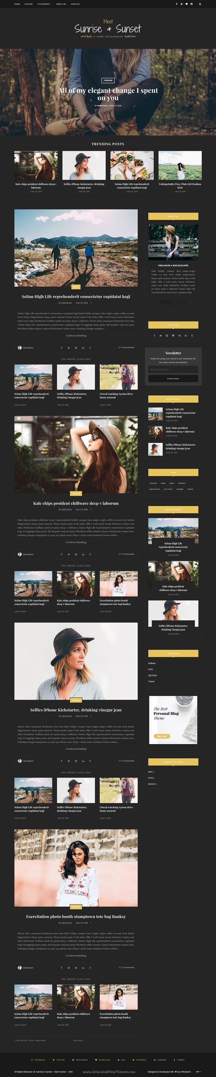 Sunrise & Sunset - Personal & Magazine Blogger Template