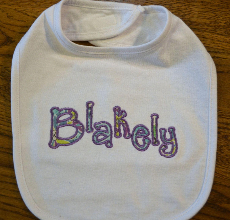 Personalized and Applique Bib by StitchesByJackie on Etsy