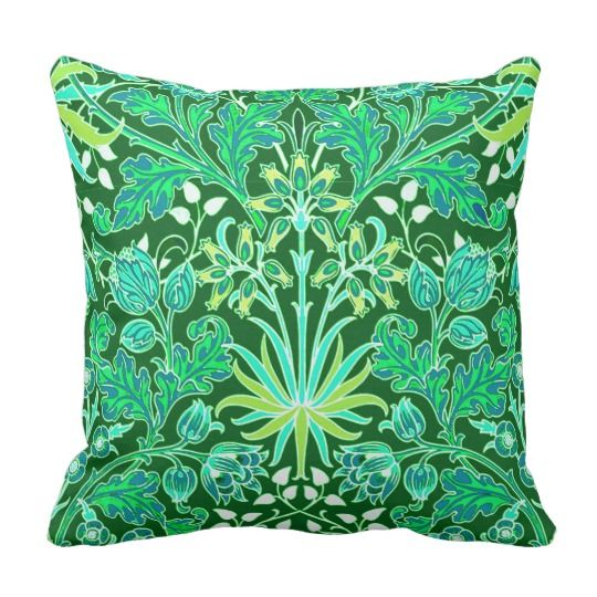 William Morris Hyacinth Print Emerald Green Throw Pillow Throw