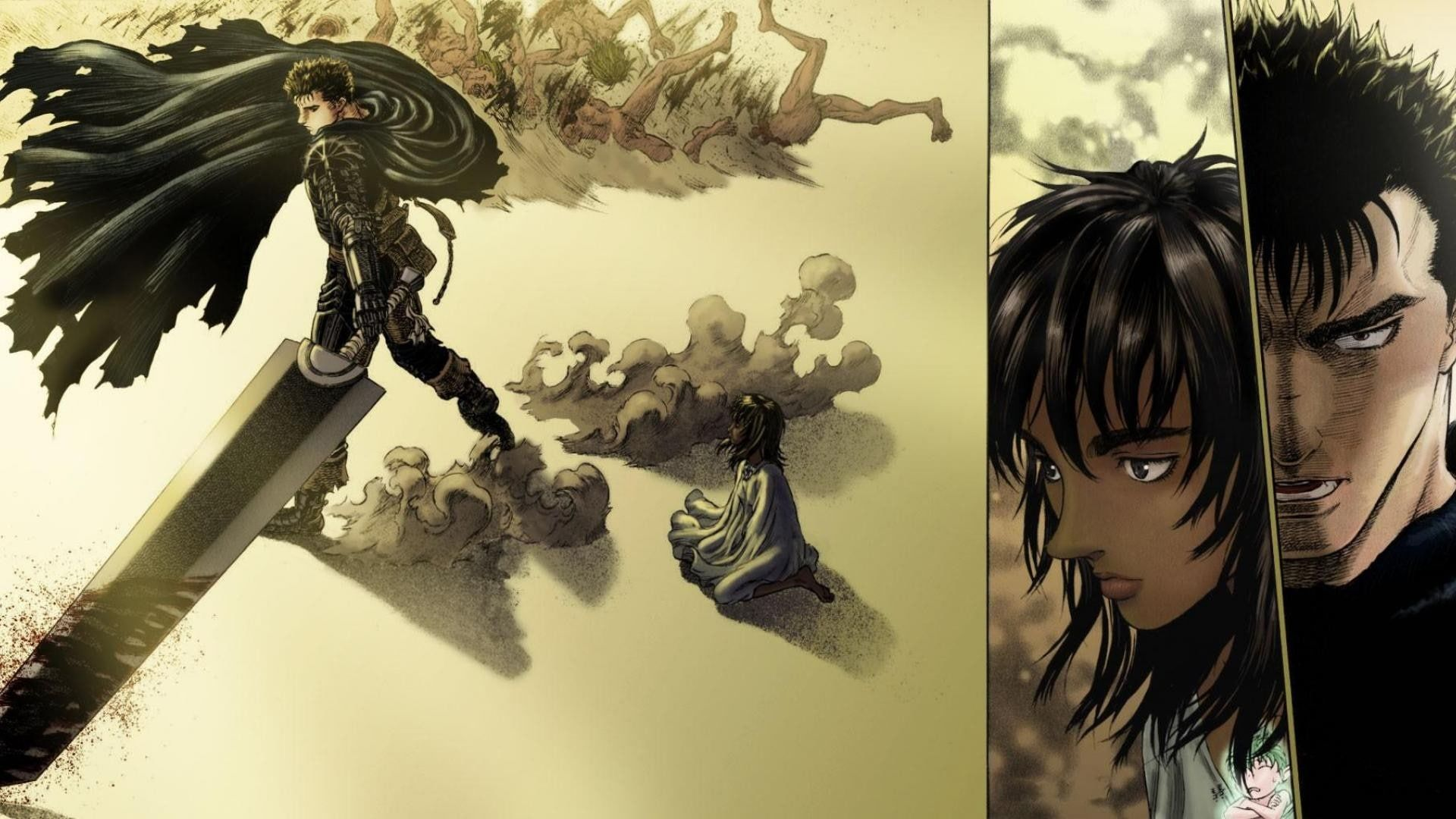 Berserk Kentaro Miura Guts Casca 1080P wallpaper