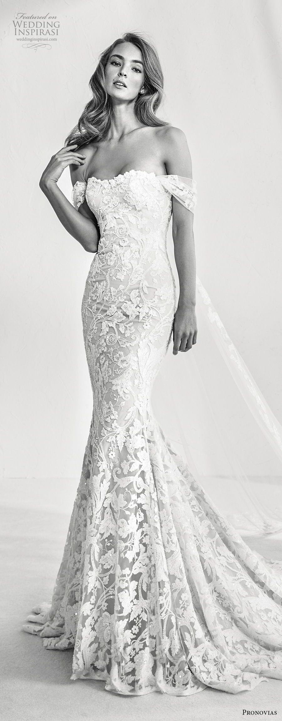 atelier pronovias 2018 bridal off the shoulder semi sweetheart ...