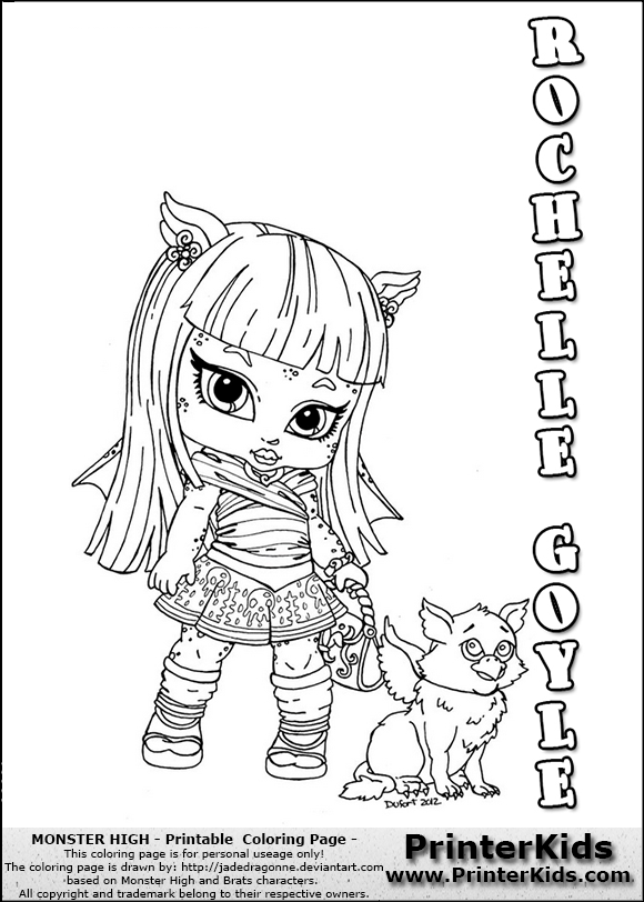 This printable colouring sheet show a cute baby or chibi version of rochelle goyle that is - Monster high coloriage baby ...