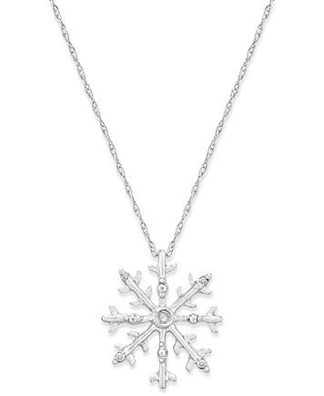 Diamond Accent Snowflake Pendant Necklace In 10k White Gold Macys Com White Gold Necklaces Snowflake Pendant Gold Jewelry Necklace