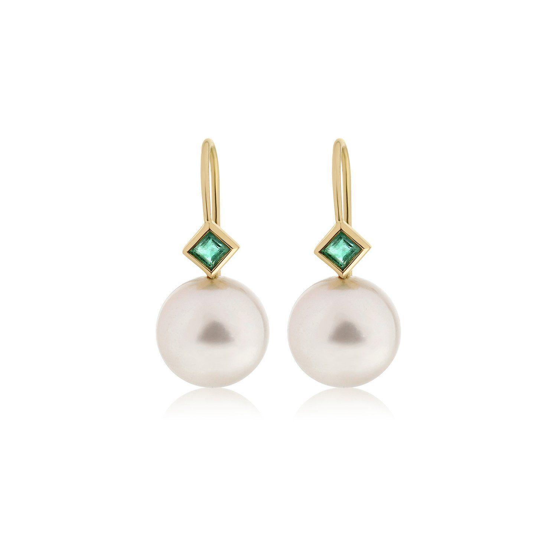 b69e81ea1e666 Emerald and Pearl Drop Earrings | designer pearl drop earrings ...