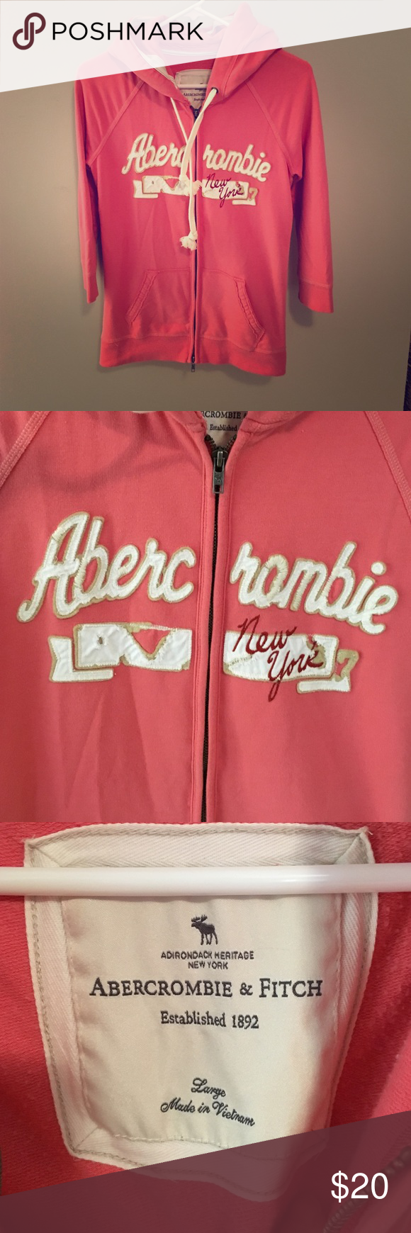 Abercrombie & Fitch 3/4 Sleeve Hoodie Excellent condition and soooo soft!! 💕 Abercrombie & Fitch Tops Sweatshirts & Hoodies