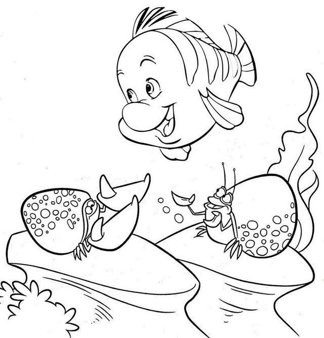 Read Morefunny Flounder Coloring Page Mermaid Coloring Pages
