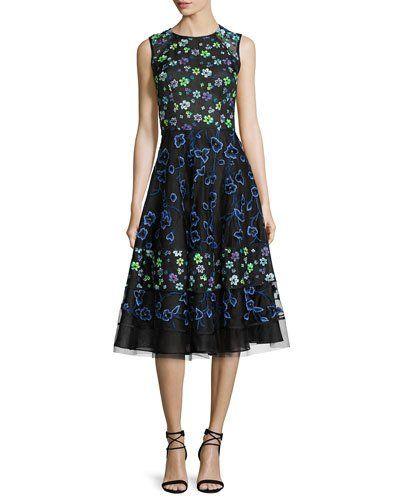 B3FTE Oscar de la Renta Floral-Embroidered Sleeveless Cocktail Dress ...