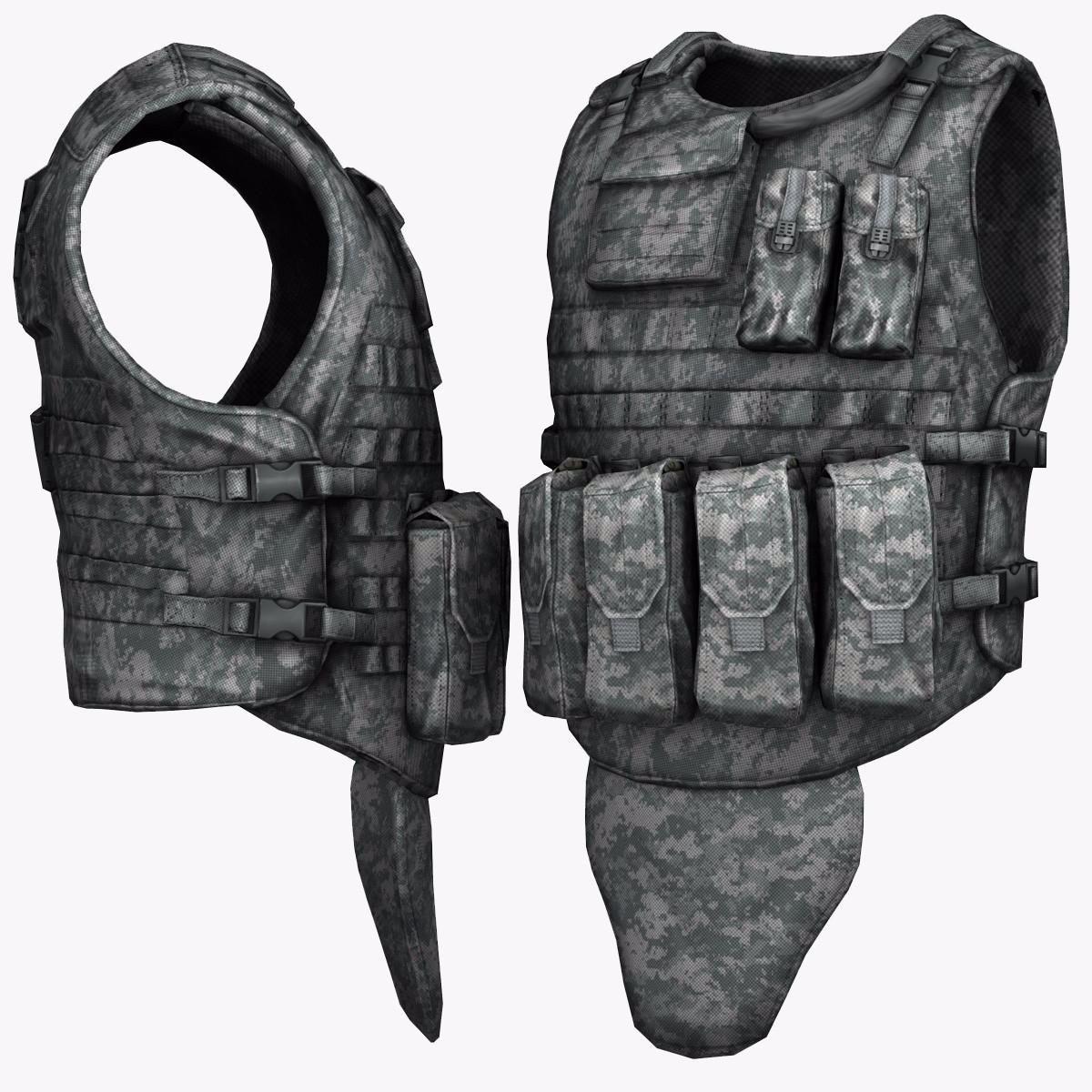 Military US BulletProof Vest 3D Model BulletMilitaryProofModel